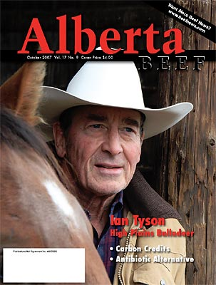 Ian Tyson on the cover of Alberta Beef Magazine
